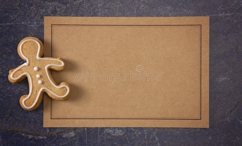 Eine leere Rezept-Karte mit verziertem Lebkuchen-Mann stockbilder