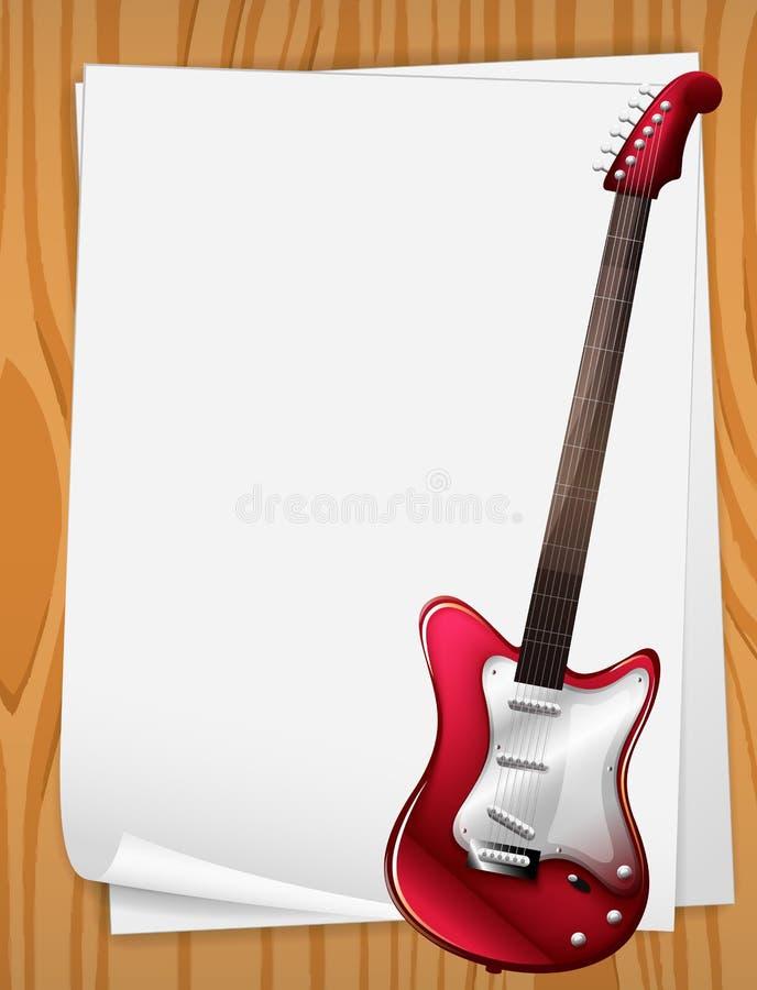 eine rote egitarre mit musikalischen anmerkungen stock