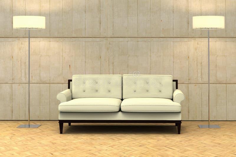 Eine leere Wand auf einer modernen Wohnung mit einem Sofa stock abbildung