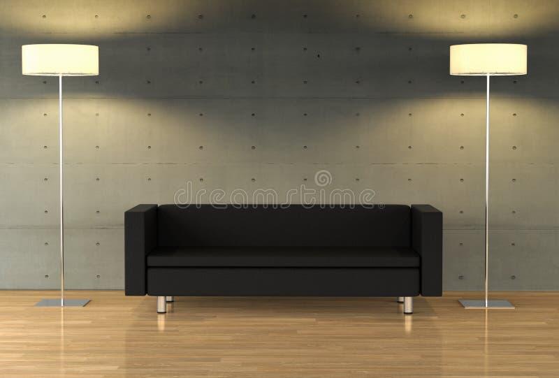 Eine leere Wand auf einer modernen Wohnung mit modernen Möbeln lizenzfreie abbildung