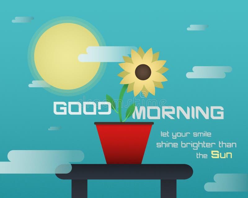Eine leistungsfähige E-Kartenillustration des guten Morgens stock abbildung