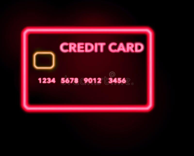 Eine Leuchtreklame, die Aussehung wie eine Kreditkarte in dieser Illustration über das Einkaufen für Kreditkarten gesehen wird vektor abbildung