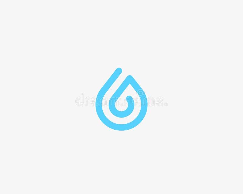 Eine Linie Aquafirmenzeichen Wassertropfenvektor-Logosymbol stock abbildung