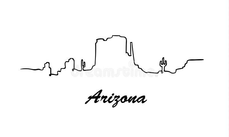 Eine Linie Art Arizona-Skyline Einfacher moderner minimaistic Artvektor vektor abbildung