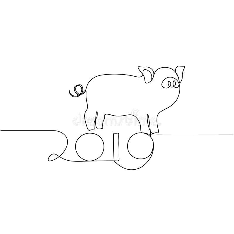 Eine Linie Designschattenbild des Schweins Minimalistic-Art-Vektorillustration stock abbildung