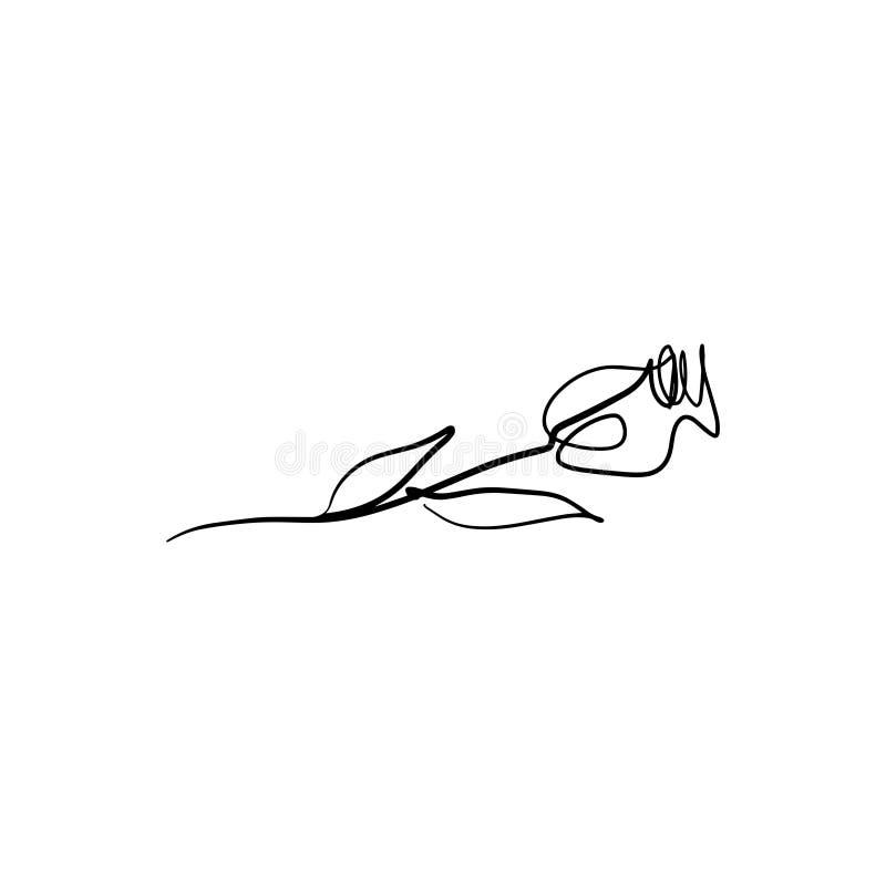 Eine Linie stieg stilvolle Zeichnung Ununterbrochene Linie Blume, Vektor ENV Illustratorkunst des Schattenbildes stock abbildung