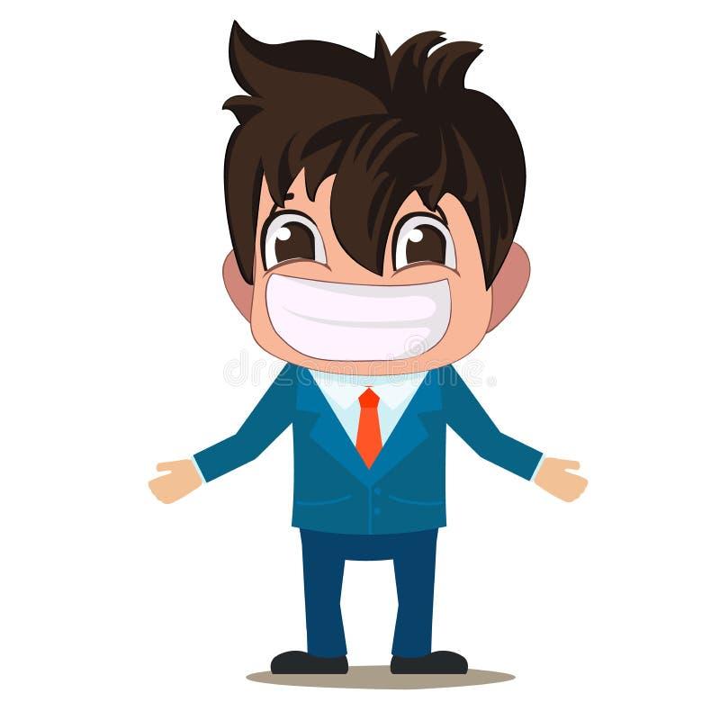 Eine lustige Illustration der Karikatur eines Mannes ist in einer Klage mit einem großen Lächeln lizenzfreie abbildung