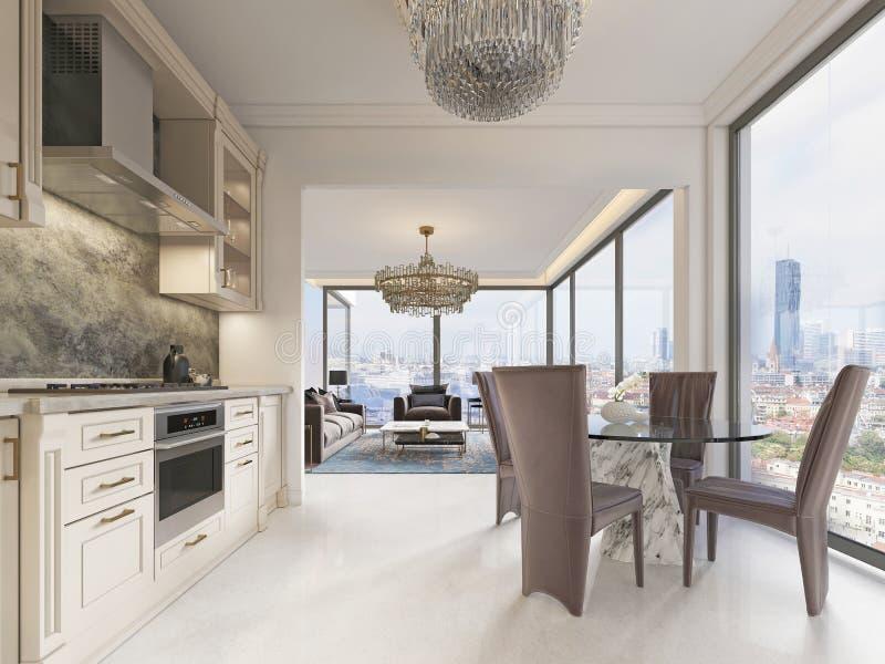 Eine luxuriöse modern-ähnliche Küche mit einem Speisetische und einem großen Fenster in voller Länge und eine schöne Ansicht der  lizenzfreie abbildung