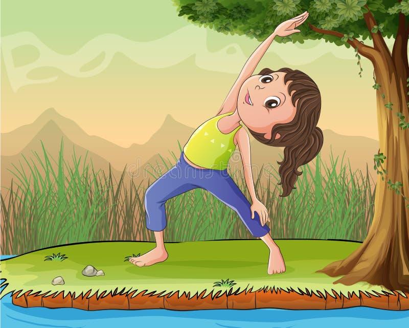 Eine Mädchenübung unter einem Baum vektor abbildung