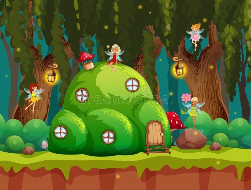Eine Märchenwaldszene stock abbildung