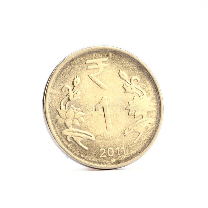 Eine Münze der indischen Rupie stockfotos