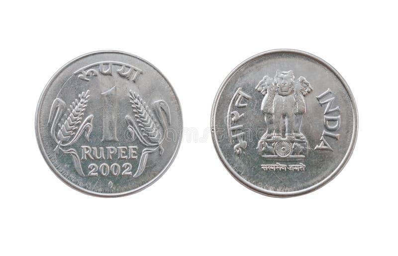 Eine Münze der indischen Rupie lizenzfreies stockbild