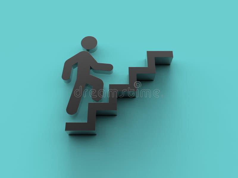 Eine Mann ` s Ikone klettert oben die Treppe, 3D-, dasillustration übertragen vektor abbildung