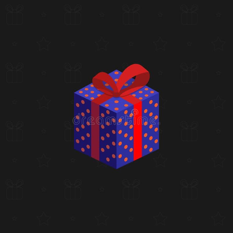 Eine mehrfarbige neues Jahr ` s Geschenkbox mit einem Band auf einem schwarzen Hintergrund Geschenke für Feiertage Auch im corel  stock abbildung