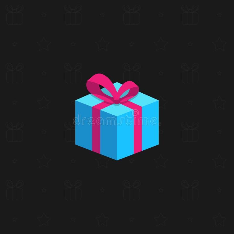 Eine mehrfarbige neues Jahr ` s Geschenkbox mit einem Band auf einem schwarzen Hintergrund Geschenke für Feiertage Auch im corel  lizenzfreie abbildung