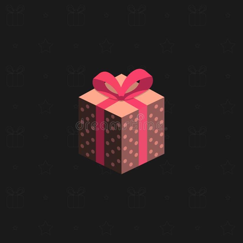 Eine mehrfarbige neues Jahr ` s Geschenkbox mit einem Band auf einem schwarzen Hintergrund Geschenke für Feiertage Auch im corel  vektor abbildung