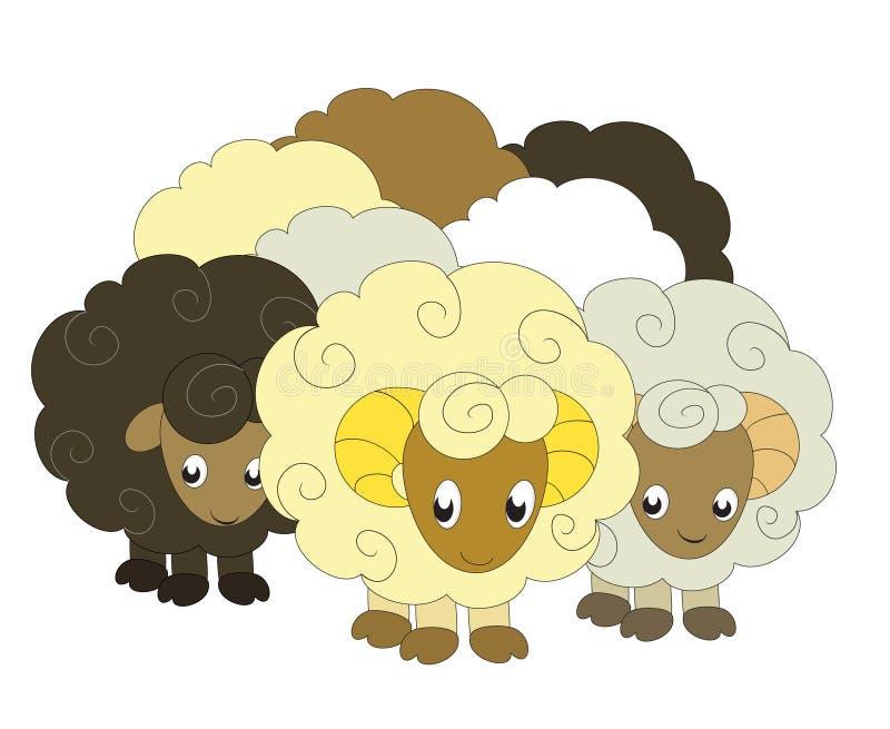 Eine Menge der Schafe vektor abbildung