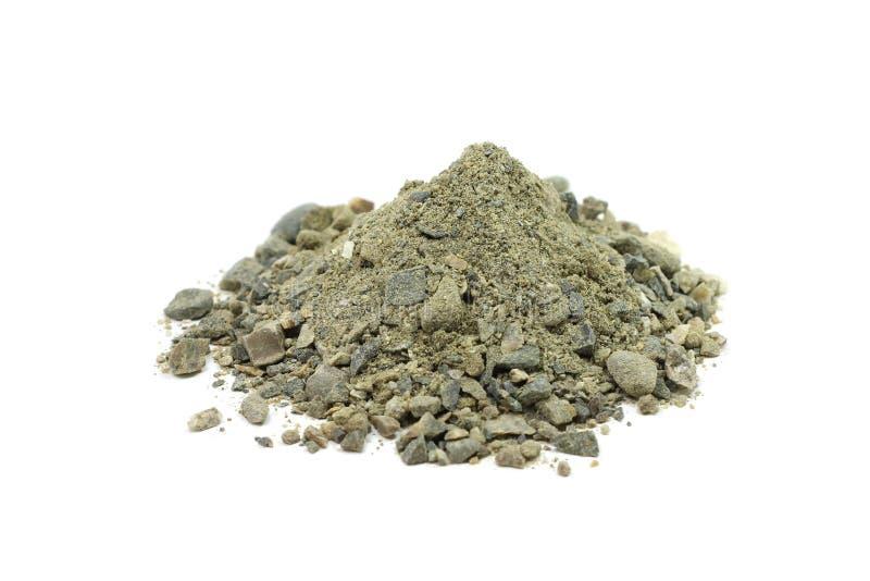 Eine Mischung des Sandes, des Lehms und des Kieses stockbild