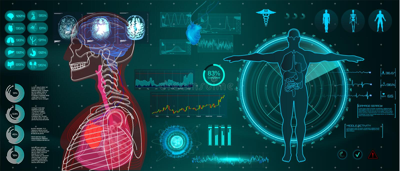 Eine moderne medizinische Schnittstelle für die Überwachung des menschlichen Scannens und der Analyse vektor abbildung
