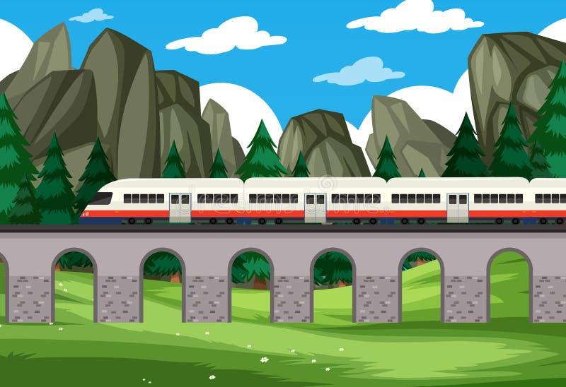Eine moderne Schienenreise zum Naturhintergrund stock abbildung