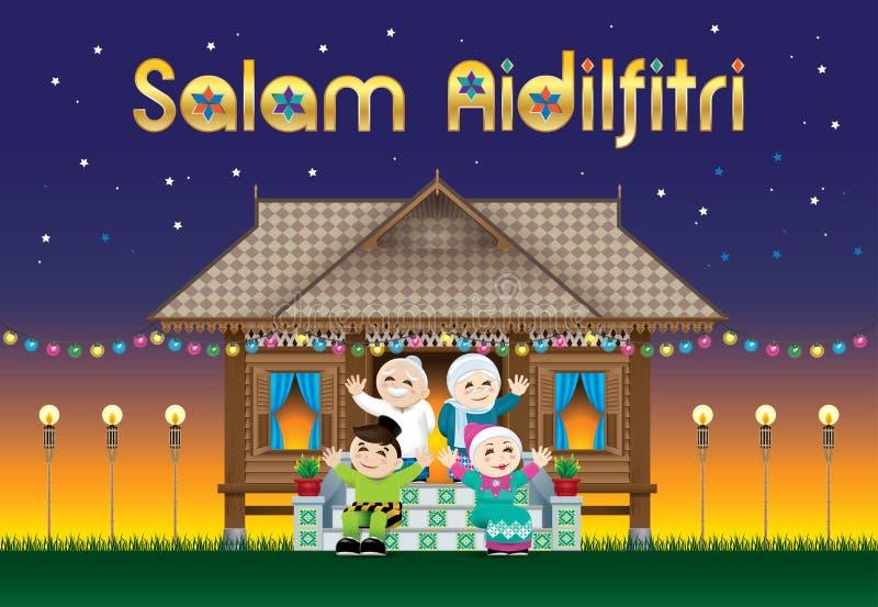 Eine moslemische Familie, die Raya-Festival in ihrem traditionellen malaysischen Arthaus feiert Mit Dorfszene Die Wörter vektor abbildung