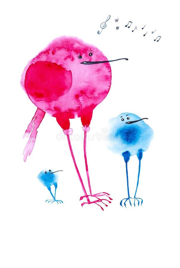 Eine musikalische Band von zwei blauem und einem rotem abstraktem Vogel singt und spielt am Konzert Komische Aquarellillustration lizenzfreie abbildung