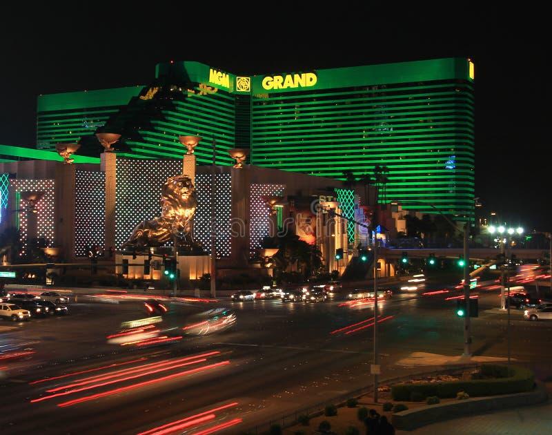 Eine Nacht schoss vom dem MGM Hotel und Kasino lizenzfreies stockbild