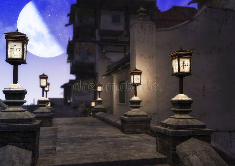 Eine Nachtszene einer asiatischen Nachbarschaft, ein voll von den Lampen und von einem Mond, der im Platz scheint stock abbildung