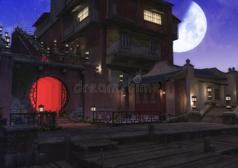Eine Nachtszene einer asiatischen Nachbarschaft voll der Lampen, wenn ein Mond am Himmel scheint vektor abbildung