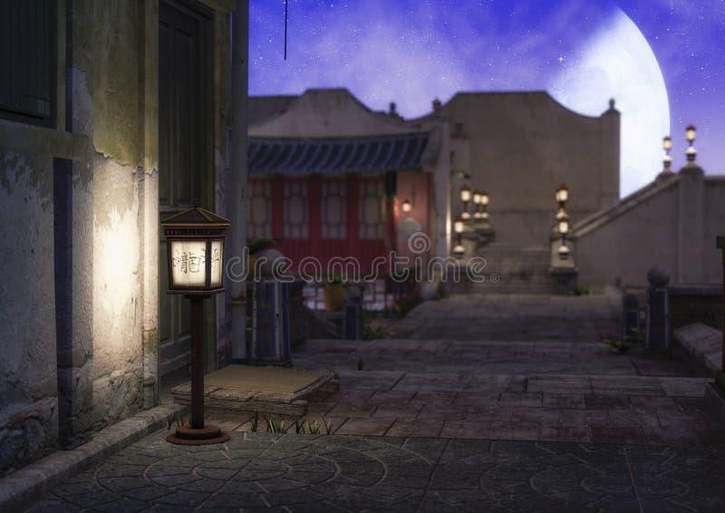 Eine Nachtszene mit einer asiatischen Lampen- und Unschärfestadt hinten stock abbildung