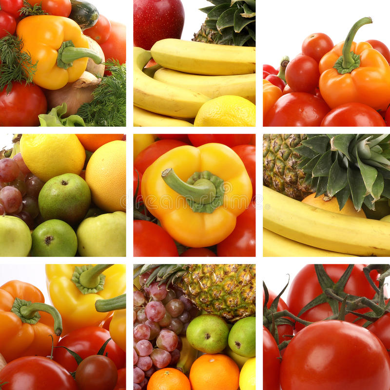 Eine Nahrungcollage mit vielen geschmackvollen Früchten lizenzfreie stockfotografie