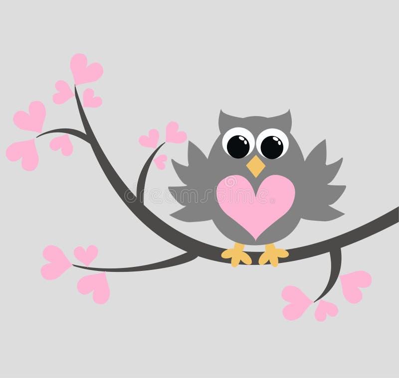eine nette Eule, die auf einem Zweig sitzt stock abbildung