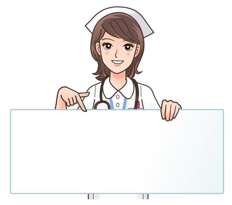 Eine nette lächelnde Krankenschwester, die auf einen unbelegten Vorstand zeigt lizenzfreie abbildung