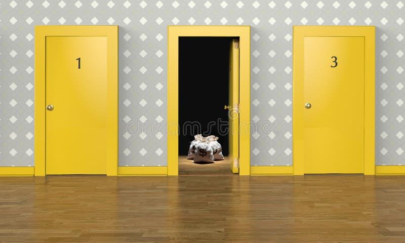 Eine offene Tür mit einer Belohnung innerhalb der Darstellung des Konzeptes der Wahl stock abbildung