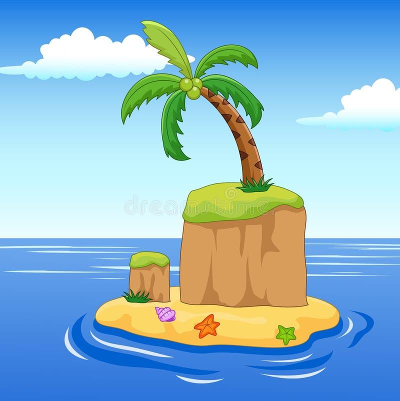 Eine Palme auf einer Insel stock abbildung