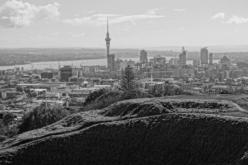 Eine panoramical Ansicht der Stadt von Auckland, wie von Maungawhau oder vom Berg Eden, an der Unterseite des Fotos angesehen kön stockbild
