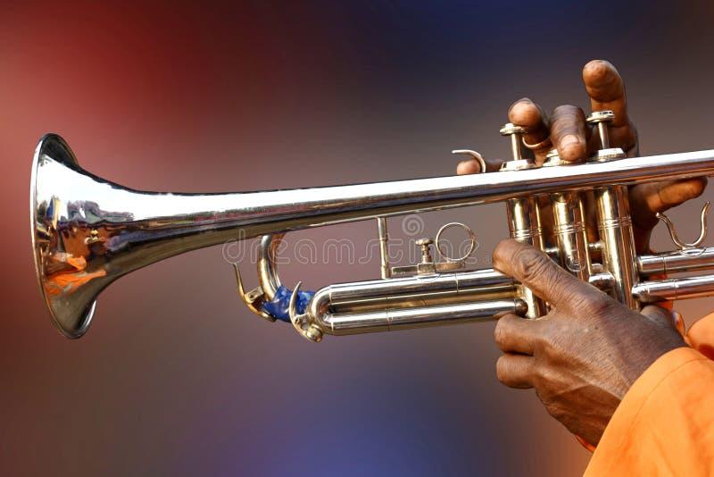 Eine Person, die süße Lieder mit Trompete, Messing, Wind, Jazz, aerophone, Musikinstrument spielt stockfotografie