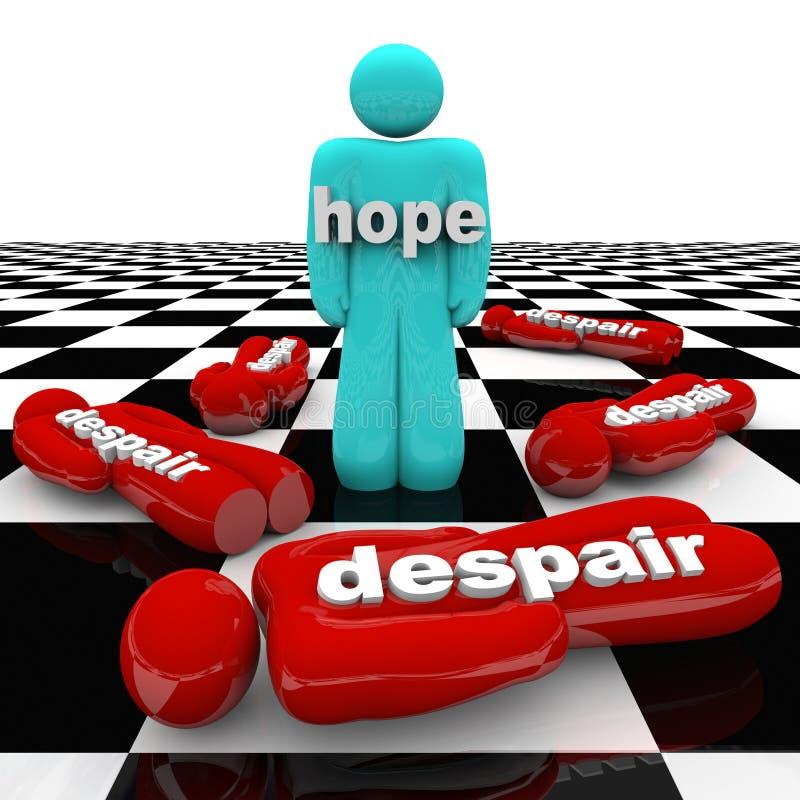 Eine Person Has Hope While Others-Verzweiflung lizenzfreie abbildung