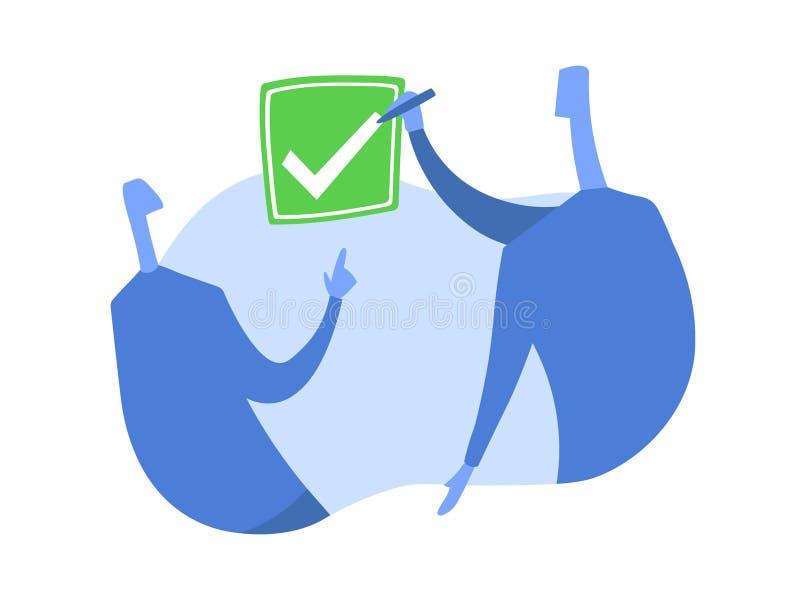 Eine Person setzt eine Zecke in den Checkbox ein Das Symbol der Zustimmung Konzeptvektorillustration, lokalisiert auf Weiß lizenzfreie abbildung
