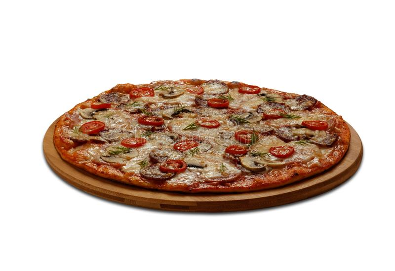 Eine Pizza auf weißem Hintergrund lizenzfreie stockfotografie