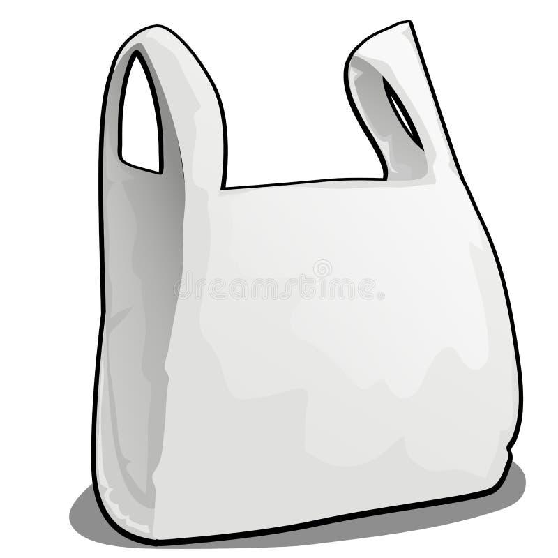 Eine Plastiktasche der weißen Farbe lokalisiert auf weißem Hintergrund Vektorkarikatur-Nahaufnahmeillustration vektor abbildung