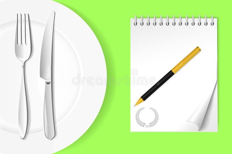 eine platte mit einer gabel und ein messer nahe bei einem
