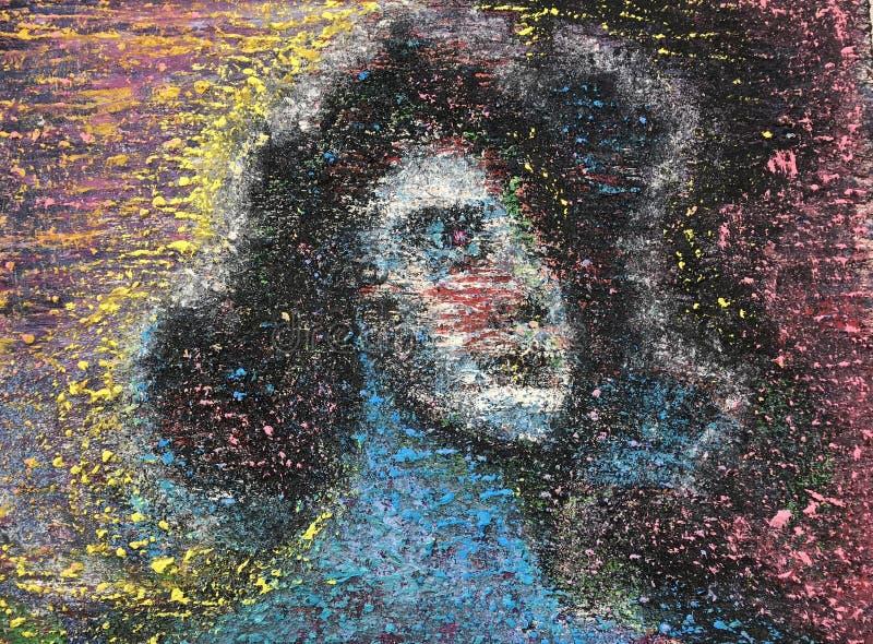 Eine psychedelische Frau im Gelb und im Rosa untersucht weg den Abstand lizenzfreie stockbilder
