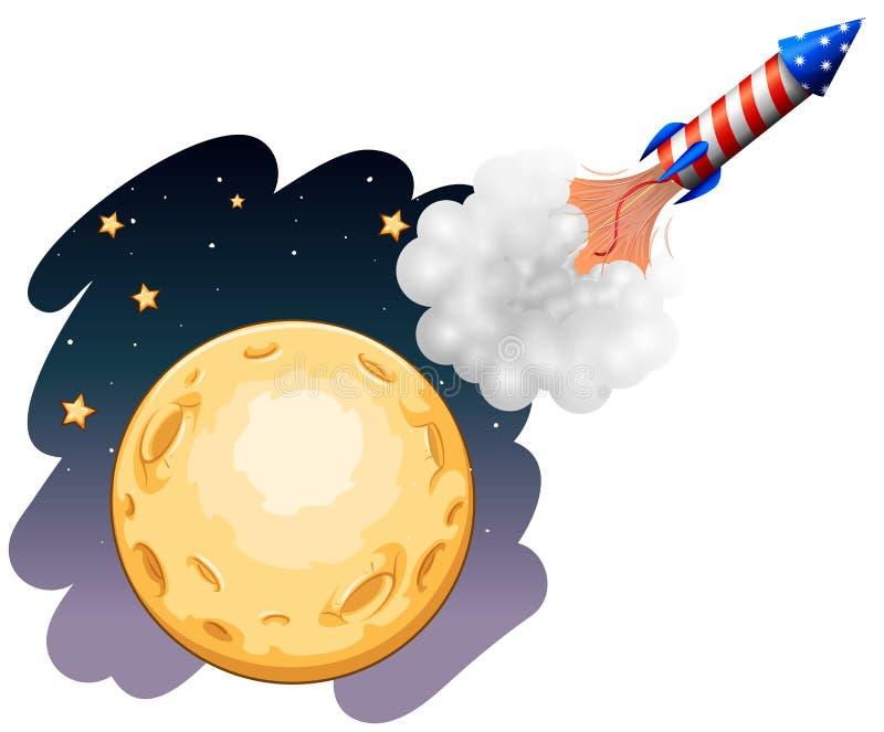Eine Rakete nahe dem Mond vektor abbildung
