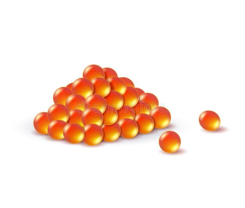 Eine realistische Darstellung eines roten Kaviars Meeresfrüchte lizenzfreie abbildung