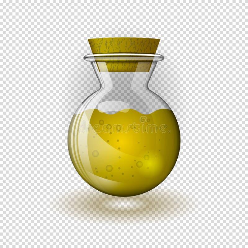 Eine realistische Glasflasche mit Öl oder gelber Flüssigkeit, schloss mit einem Stopper auf einem transparenten Hintergrund stock abbildung