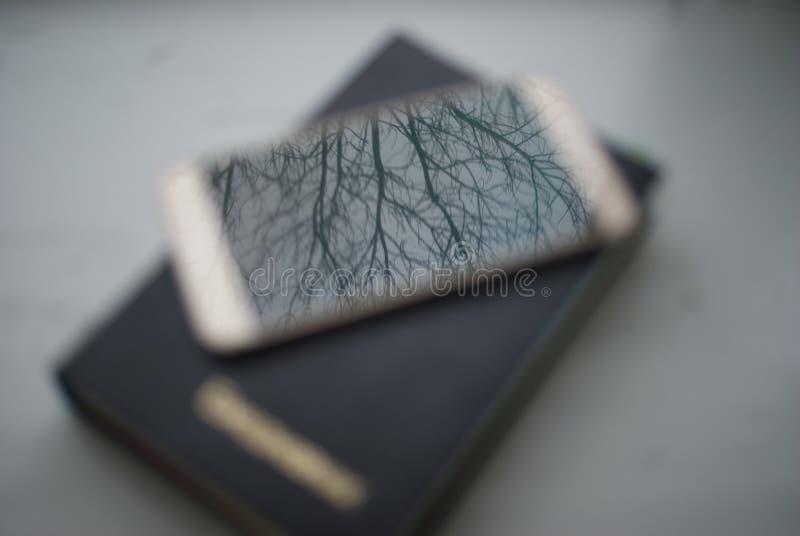 Eine Reflexion der Natur Forest Diary und Telefon Träume der Natur lizenzfreies stockfoto