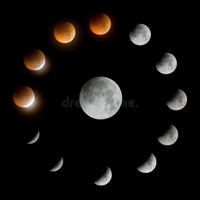 Eine Reihe der Gesamtmondeklipse und des Mondes stockfoto
