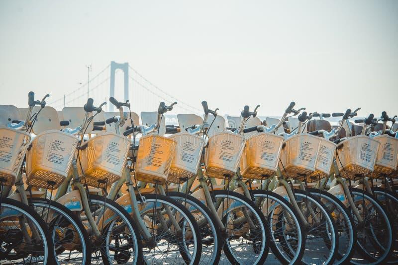 Eine Reihe von Fahrrädern lizenzfreies stockfoto