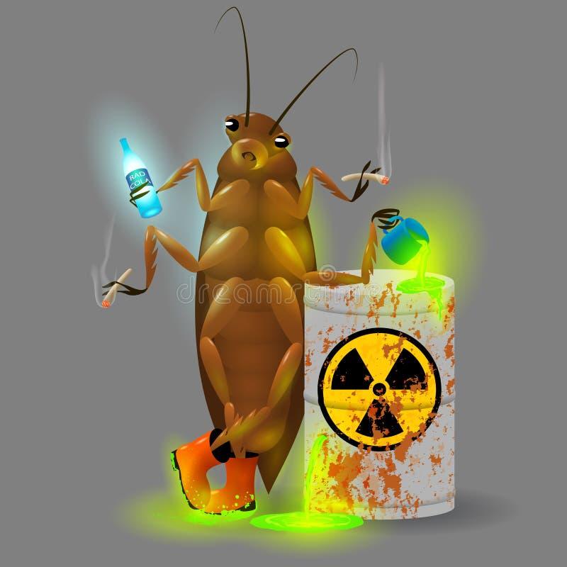 Eine riesige Schabe trinkt einen radioaktiven Kolabaum- und Chemikalienabfall von einem rostigen Fass Giftige grüne Leuchtstofffl stock abbildung